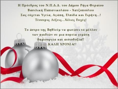 Ευχές για τη νέα χρονιά της Προέδρου του Ν.Π.Δ.Δ. του Δήμου Ρήγα Φεραίου κα. Βασιλική Παπανικολάου – Χατζοπούλου