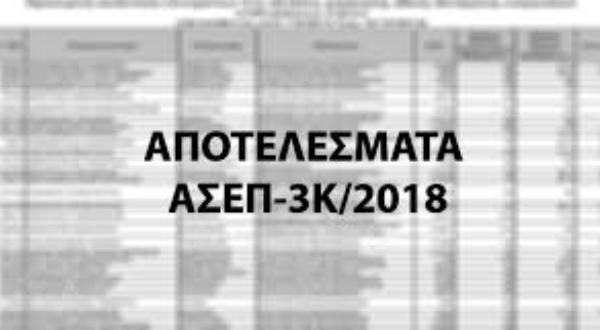 Ανακοίνωση για τους επιτυχόντες της προκήρυξης του ΑΣΕΠ 3Κ/2018